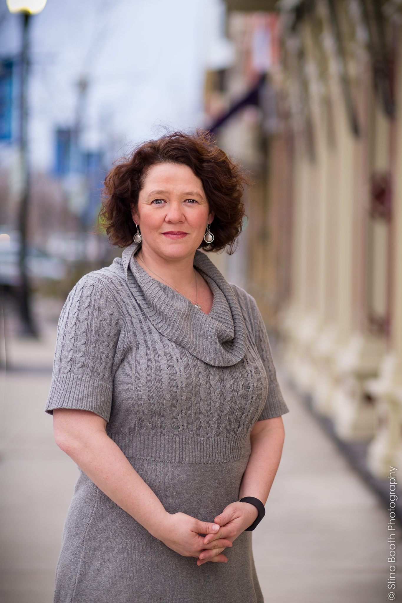Denise Smith photographed on Main Street in St. Albans for political headshots by Stina Booth