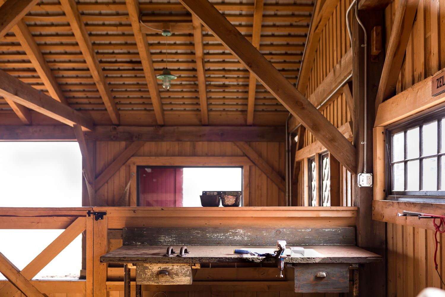 Interior architecture photo of barn built by New Frameworks Natural Building in Middlesex Vermont
