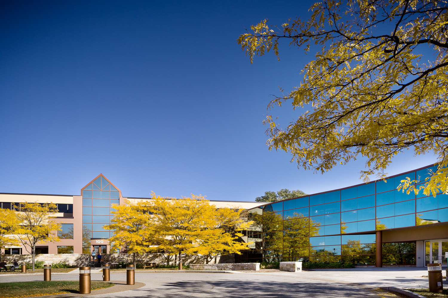 Exterior photo of the GE Healthcare Building in Burlington Vermont by Stina Booth.