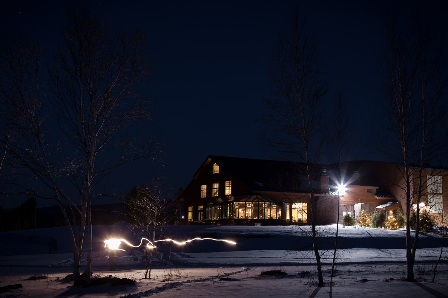 Exterior photo of the von Trapp Brewery Bierhall in Stowe Vermont used to create a composited twilight image by Vermont architecture photography Studio SB